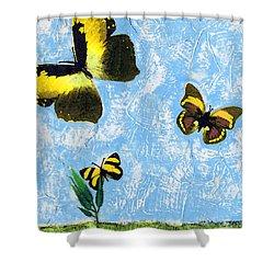 Yellow Butterflies - Spring Art By Sharon Cummings Shower Curtain by Sharon Cummings