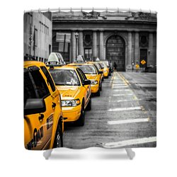 Yellow Cabs Waiting - Grand Central Terminal - Bw O Shower Curtain by Hannes Cmarits