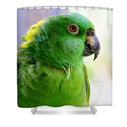 Yellow Crowned Amazon Parrot No 1 Shower Curtain by Mary Deal