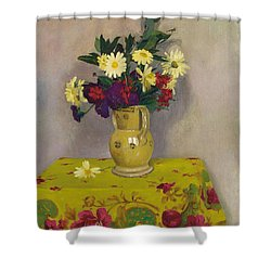 Yellow Daisies And Various Flowers Shower Curtain by Felix Edouard Vallotton