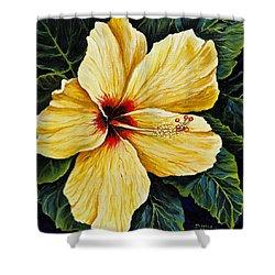 Yellow Hibiscus Shower Curtain by Darice Machel McGuire