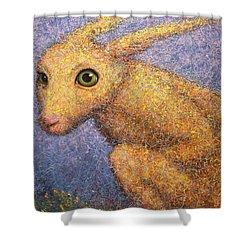 Yellow Rabbit Shower Curtain by James W Johnson