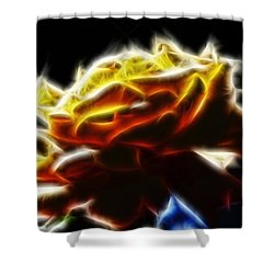 Yellow Rose Series - Neon Fractal Shower Curtain by Lilia D