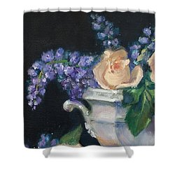 Yellow Roses Shower Curtain by Sarah Parks