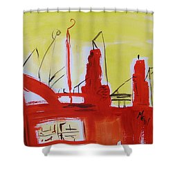 Yellow Sky Industry Shower Curtain by Mary Carol Williams