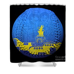 Yellow Submarine 2 Baseball Square Shower Curtain by Andee Design
