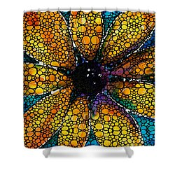 Yellow Sunflower - Stone Rock'd Art By Sharon Cummings Shower Curtain by Sharon Cummings