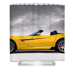 Yellow Viper Roadster Shower Curtain by Douglas Pittman