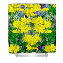 Yellow Wild Flowers Shower Curtain by Jon Neidert