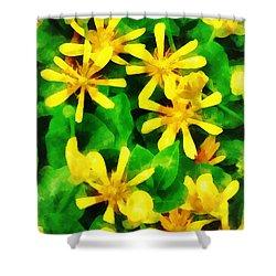 Yellow Wildflowers Shower Curtain by Susan Savad