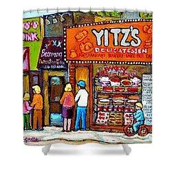 Yitzs Deli Toronto Restaurants Cafe Scenes Paintings Of Toronto Landmark City Scenes Carole Spandau  Shower Curtain by Carole Spandau