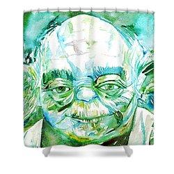 Yoda Watercolor Portrait Shower Curtain by Fabrizio Cassetta
