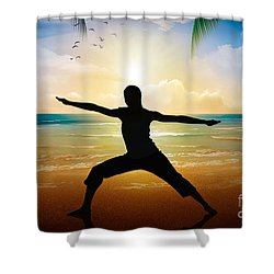 Yoga On Beach Shower Curtain by Bedros Awak