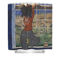 Yoga Shower Curtain by Reba Baptist
