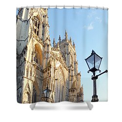 York Minster With Lampost Shower Curtain by Neil Finnemore