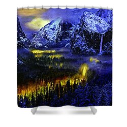Yosemite Valley At Night Shower Curtain by Bob and Nadine Johnston