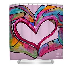 You Hold My Heart In Your Hands Shower Curtain by Eloise Schneider