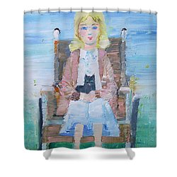 Young Girl-with Cat- On Wheelchair Shower Curtain by Fabrizio Cassetta