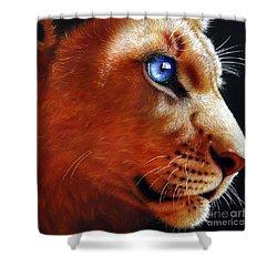 Young Lion Shower Curtain by Jurek Zamoyski