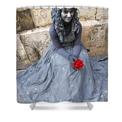 Young Woman Busker In Syracusa Sicily Shower Curtain by David Smith