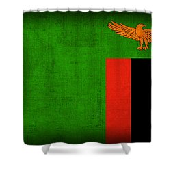 Zambia Flag Distressed Vintage Finish Shower Curtain by Design Turnpike