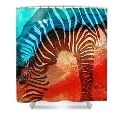 Zebra Love - Art By Sharon Cummings Shower Curtain by Sharon Cummings