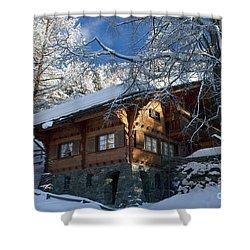 Zermatt Chalet Shower Curtain by Brian Jannsen