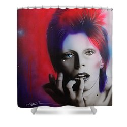 David Bowie - ' Ziggy Stardust ' Shower Curtain by Christian Chapman