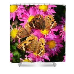 3 Beauty's Butterflies On Mum Flowers Shower Curtain by Peggy  Franz