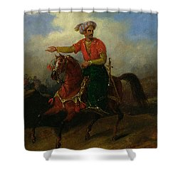 An Ottoman On Horseback  Shower Curtain by Charles Bellier