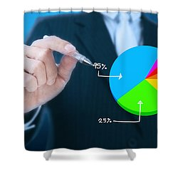 Businessman Writing Graph Shower Curtain by Setsiri Silapasuwanchai