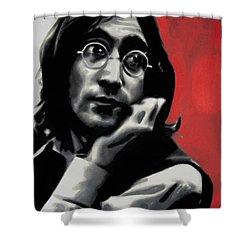 - Imagine - Red Detail - Shower Curtain by Luis Ludzska