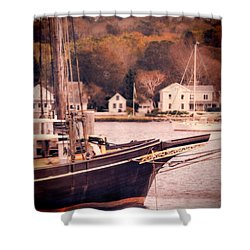 Old Ship Docked On The River Shower Curtain by Jill Battaglia