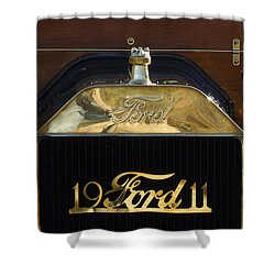 1911 Ford Model T Torpedo Hood Ornament Shower Curtain by Jill Reger