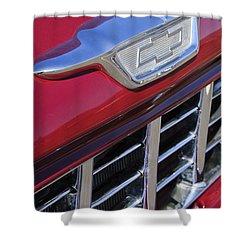 1955 Chevrolet Pickup Truck Grille Emblem Shower Curtain by Jill Reger