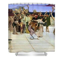 A Dedication To Bacchus Shower Curtain by Sir Lawrence Alma-Tadema