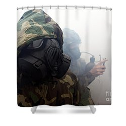 A Marine Wearing A Gas Mask Shower Curtain by Stocktrek Images