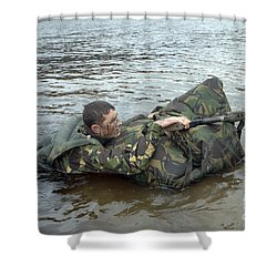 A Soldier Participates In A River Shower Curtain by Andrew Chittock