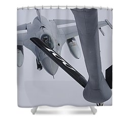 Air Refueling A Norwegian Air Force Shower Curtain by Daniel Karlsson