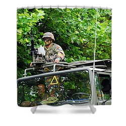 An Infantry Soldier Of The Belgian Army Shower Curtain by Luc De Jaeger