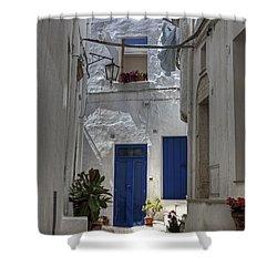 Apulia - Blue-white Shower Curtain by Joana Kruse
