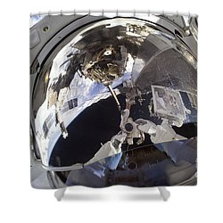 Astronaut Uses A Digital Still Camera Shower Curtain by Stocktrek Images