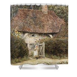 At The Cottage Gate Shower Curtain by Helen Allingham