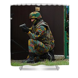Belgian Paracommandos Entering Shower Curtain by Luc De Jaeger