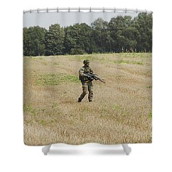 Belgian Paratroopers Proceeding Shower Curtain by Luc De Jaeger