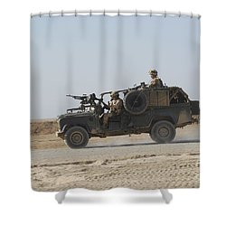 British Soldiers Patrol Afghanistan Shower Curtain by Andrew Chittock