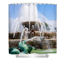 Buckingham Fountain In Chicago Shower Curtain by Paul Velgos