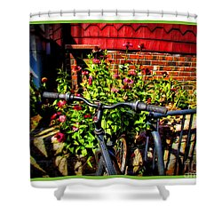 Cape Cod Bike Shower Curtain by Joan  Minchak