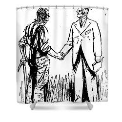 Cartoon: Fdr & Workingmen Shower Curtain by Granger