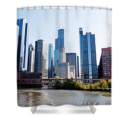 Chicago River Skyline With Sears-willis Tower Shower Curtain by Paul Velgos